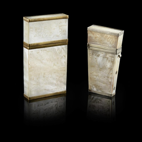 29 - MOTHER-OF-PEARL CARD CASE AND ETUI<br><br>QING DYNASTY, 19TH CENTURY <br><br>both decorated with cha...