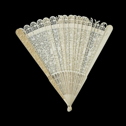 34 - TWO IVORY BRISÉ FANS<br><br>QING DYNASTY, 19TH CENTURY <br><br>each carved and pierced with characte...