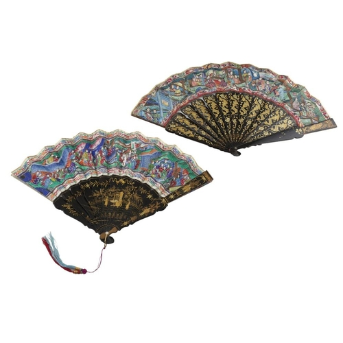 39 - TWO PAINTED AND LACQUERED 'THOUSAND FACES' FANS<br><br>QING DYNASTY, 19TH CENTURY <br><br>the fan le...