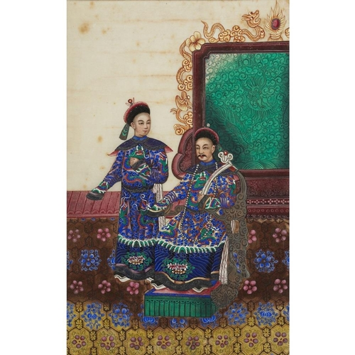 41 - ALBUM OF NINETEEN FINE PAINTINGS ON PITH PAPER<br><br>QING DYNASTY, 19TH CENTURY <br><br>comprising ...