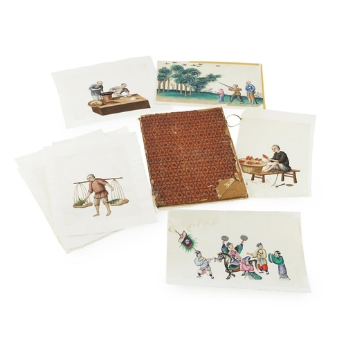 42 - ALBUM OF SIX PAINTINGS ON PITH PAPER<br><br>SIGNED CHEONGQUA, 19TH CENTURY <br><br>ink and colour on...