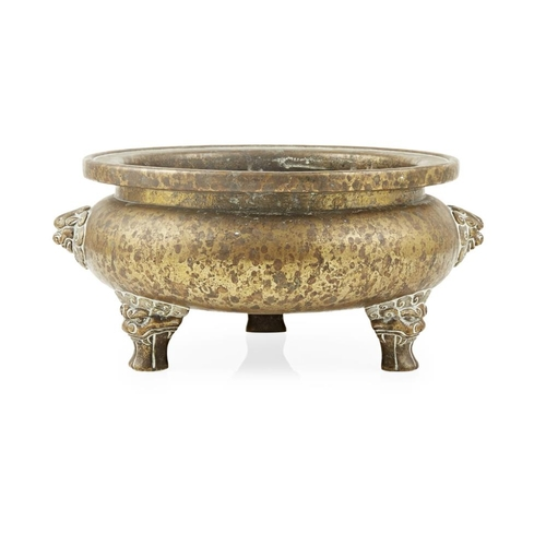 45 - LARGE BRONZE TRIPOD CENSER<br><br>XUANDE MARK, LATE MING/EARLY QING DYNASTY <br><br>the heavily cast...