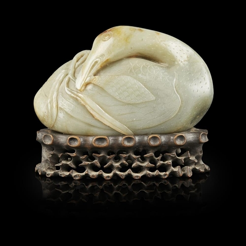 47 - LARGE CELADON JADE MODEL OF A GOOSE<br><br>QING DYNASTY, 18TH/19TH CENTURY <br><br>carved in the rou...