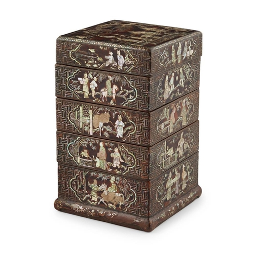 5 - LAC BURGAUTÉ FOUR-TIERED BOX AND COVER<br><br>17TH CENTURY <br><br>finely inlaid in mother-of-pearl,...