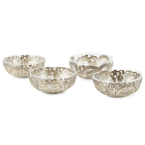 50 - FOUR RETICULATED SILVER BOWLS<br><br>THREE WITH HONG HE AND HC MARKS, LATE QING DYNASTY <br><br>thre...