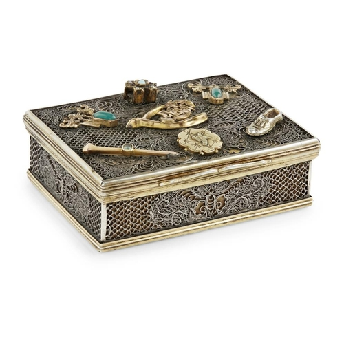 51 - EXPORT SILVER FILIGREE BOX WITH RUSSIAN MOUNTS<br><br>QING DYNASTY, CIRCA 1780 <br><br>the rectangul...