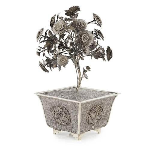 52 - SILVER FILIGREE CHRYSANTHEMUM TREE AND JARDINIÈRE<br><br>QING DYNASTY, 19TH CENTURY <br><br>naturali...