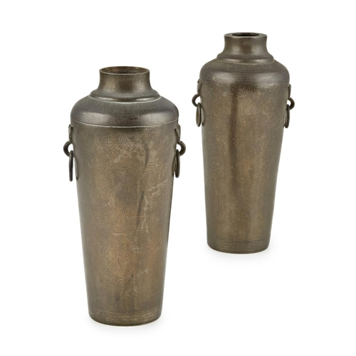 55 - PAIR OF SILVER-INLAID BRONZE VASES<br><br>SHI SOU MARK, LATE QING DYNASTY <br><br>each inlaid in sil...