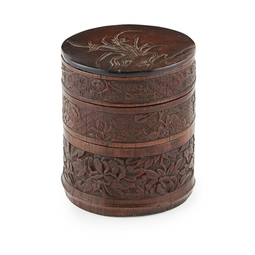 7 - CARVED BAMBOO-VENEER HARDWOOD THREE-TIERED BOX AND COVER<br><br>QING DYNASTY, 18TH/19TH CENTURY <br>...