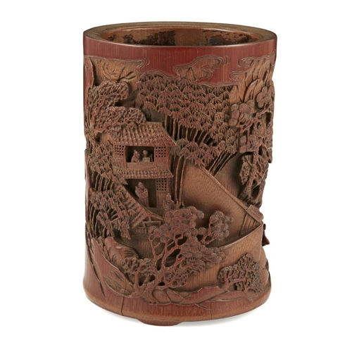 9 - CARVED BAMBOO BRUSHPOT<br><br>LATE QING DYNASTY <br><br>finely carved in varied reliefs through the ...