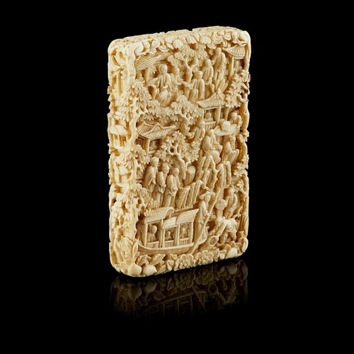 32A - CARVED CANTON IVORY CARD CASE QING DYNASTY, 19TH CENTURY  finely carved around the exterior with sch...