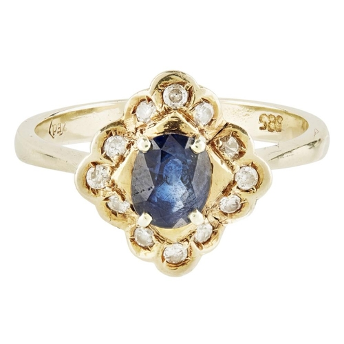 21 - <b>A sapphire and diamond set cluster ring</b></i></u> <br /> claw set with an oval sapphire, in a b...