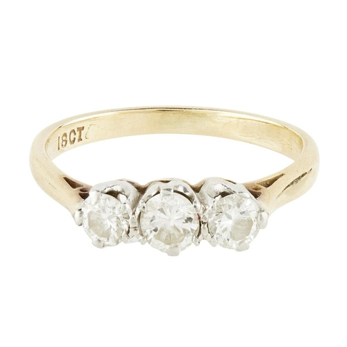 48 - <b>A diamond set three stone ring</b></i></u> <br /> claw set with three round brilliant cut diamond...