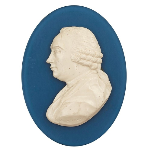 11 - A PORTRAIT MEDALLION OF DAVID HUME, BY JAMES TASSIE<br><br>LATE 18TH CENTURY <br><br>the white paste...
