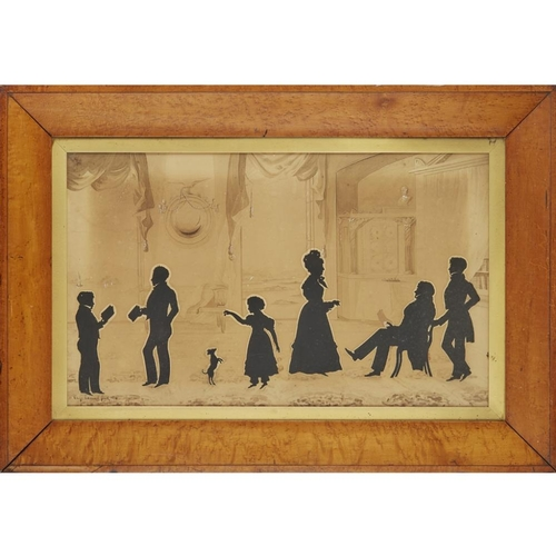 13 - AUGUSTE EDOUART (1789-1861)<br><br>FRAMED SILHOUETTE PORTRAIT GROUP, DATED 1831 <br><br>depicting Al...