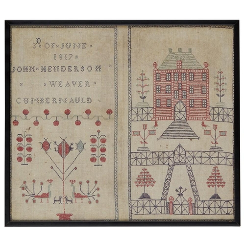 16 - A SCOTTISH EMBROIDERED SAMPLER<br><br>DATED 1817 <br><br>with polychrome house and garden with peaco...