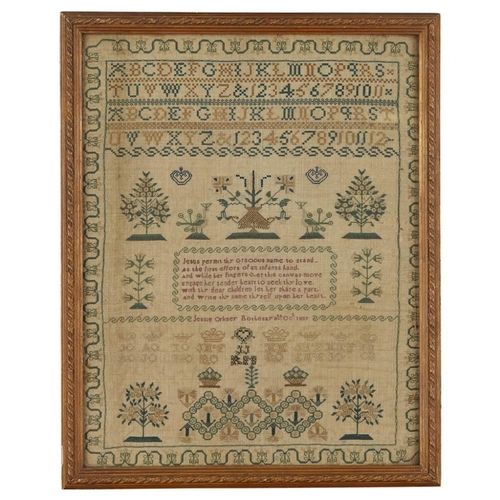17 - A SCOTTISH EMBROIDERED SAMPLER<br><br>DATED 1839 <br><br>with polychrome peacocks, flowering plants,...