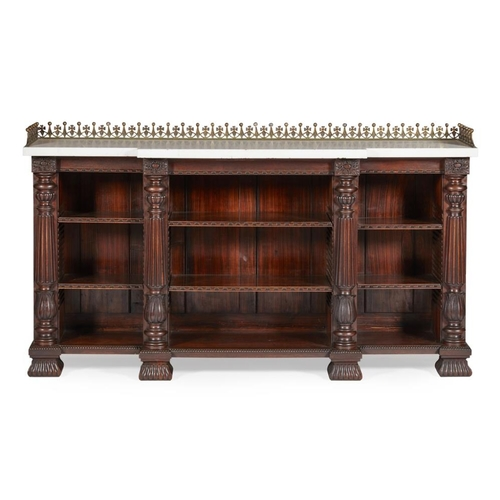 19 - A FINE SCOTTISH REGENCY ROSEWOOD AND SIMULATED ROSEWOOD BREAKFRONT BOOKCASE<br><br>IN THE MANNER OF ...