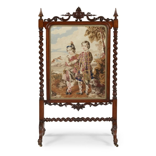 24 - A SCOTTISH VICTORIAN MAHOGANY AND NEEDLEWORK FIRESCREEN<br><br>MID-19TH CENTURY <br><br>the needlewo...