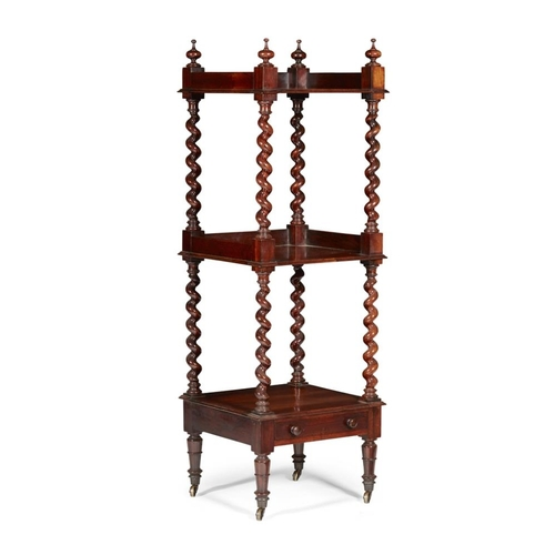 25 - AN EARLY VICTORIAN SCOTTISH ROSEWOOD ÉTAGÈRE<br><br>CIRCA 1830 <br><br>with three tiers, each suppor...