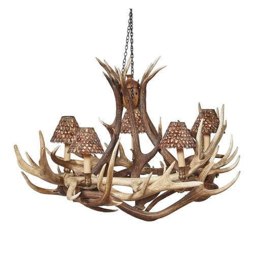27 - AN ANTLER CHANDELIER<br><br>CONTEMPORARY <br><br>the entwined antlers supporting five brass sconces,...