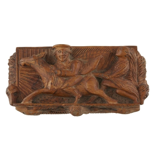 30 - CARVED 'BLINDMAN' TABLE SNUFF BOX<br><br>19TH CENTURY <br><br>depicting Tam O'Shanter fleeing from a...