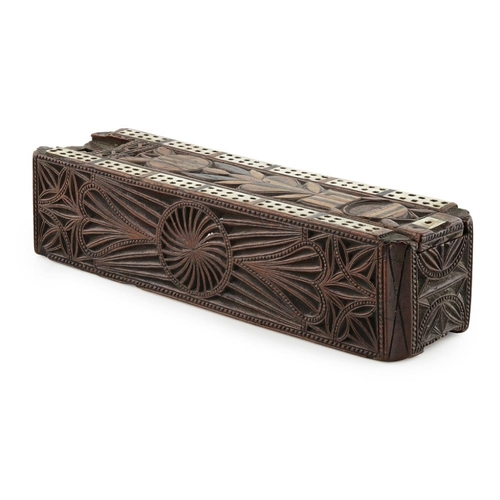 32 - A SCOTTISH CARVED WOOD AND INLAID GAMES BOX<br><br>EARLY 19TH CENTURY <br><br>of rectangular form, c...