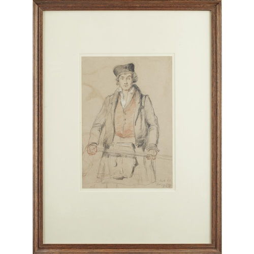 34 - WILLIAM SIMPSON (1823-1899)<br><br>'HIGHLANDER' <br><br>pencil and crayon on paper, inscribed lower ...