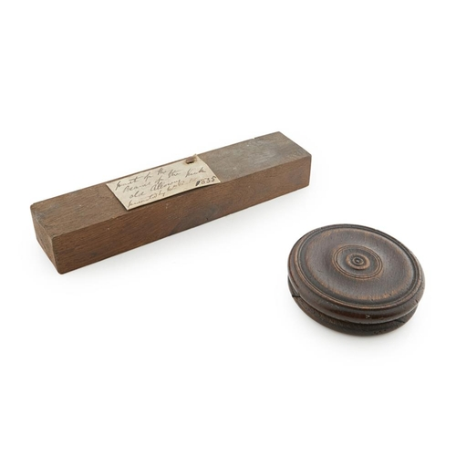 35 - HISTORIC SCOTTISH TREEN<br><br>to include a rectangular section of wood with handwritten label attac...