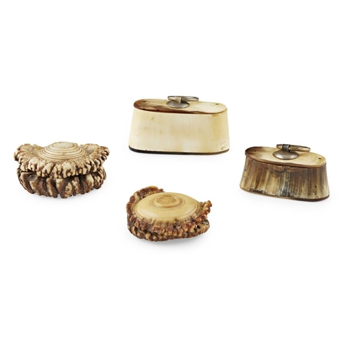 38 - GROUP OF FOUR HORN AND ANTLER SNUFF BOXES<br><br>19TH CENTURY <br><br>comprising two circular antler...