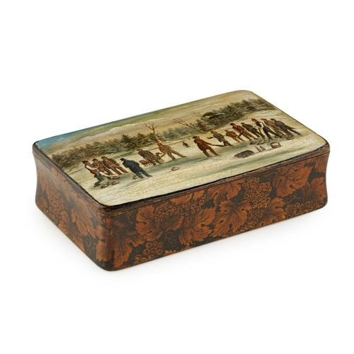 47 - A MAUCHLINE WARE PENWORK SNUFF BOX - OF CURLING INTEREST<br><br>LATE 19TH CENTURY <br><br>the lid wi...