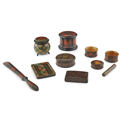 50 - A GROUP OF MAUCHLINE TARTANWARE<br><br>19TH CENTURY <br><br>comprising a SNUFF BOX, in 'Clanronald',...