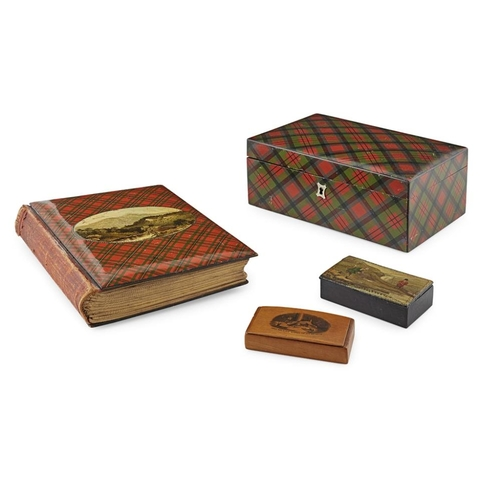 51 - A GROUP OF TARTAN AND MAUCHLINE WARE<br><br>19TH CENTURY <br><br>comprising a LARGE TARTANWARE BOX, ...