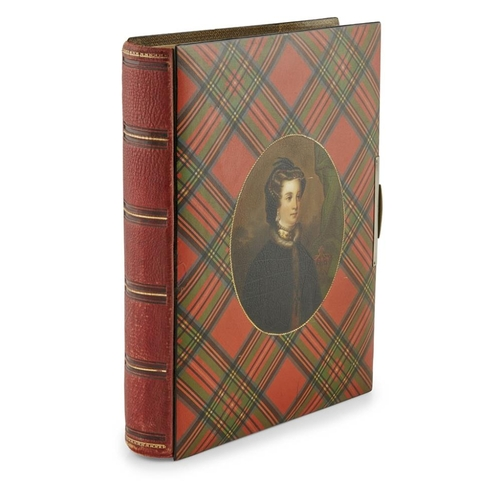 52 - A MAUCHLINE TARTANWARE PHOTOGRAPH ALBUM<br><br>CIRCA 1890 <br><br>the boards in Stuart tartan with c...