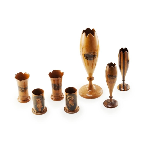 54 - A LARGE GROUP OF MAUCHLINE WARE<br><br>19TH CENTURY <br><br>comprising a LARGE TULIP-SHAPED VASE, 28...