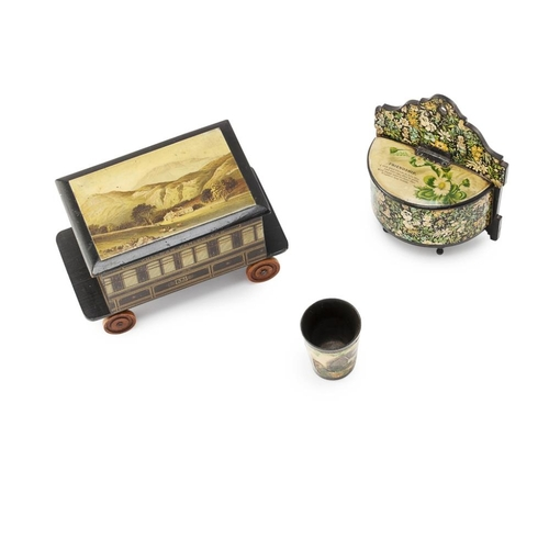 58 - A LARGE GROUP OF MAUCHLINE WARE<br><br>19TH CENTURY <br><br>comprising a PULLMAN RAIL CRIBBAGE BOX, ...