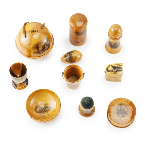 59 - A LARGE GROUP OF MAUCHLINE WARE<br><br>19TH CENTURY <br><br>comprising a THREAD HOLDER, 9.5cm diamet...
