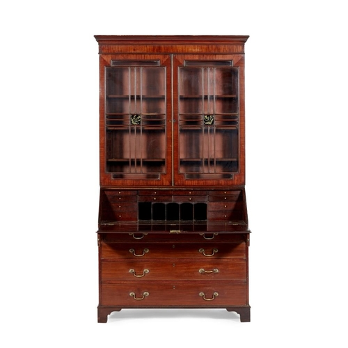 6 - A SCOTTISH REGENCY MAHOGANY BUREAU BOOKCASE<br><br>EARLY 19TH CENTURY <br><br>the straight moulded c...