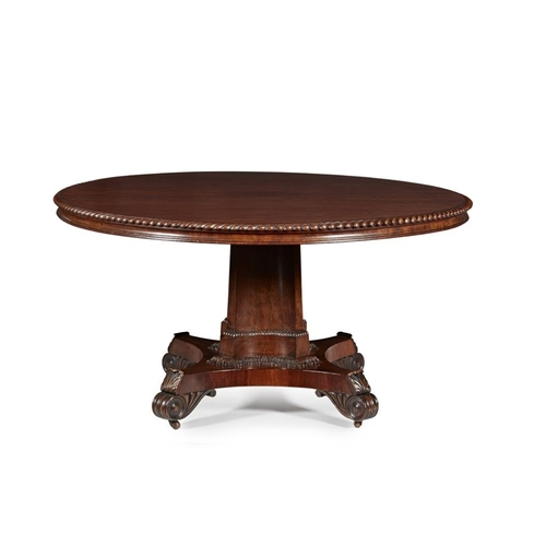 9 - A SCOTTISH REGENCY PLUM PUDDING MAHOGANY BREAKFAST TABLE<br><br>CIRCA 1830 <br><br>the circular hing...