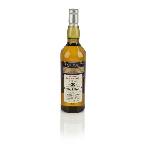 640 - ROYAL BRACKLA 1978 20 YEAR OLD - RARE MALTS <br> <br>bottled in 1998, number 3377, with carton <br> ...