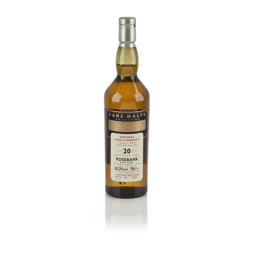 653 - ROSEBANK 1981 20 YEAR OLD - RARE MALTS <br> <br>DISTILLERY CLOSED 1993  <br> <br>bottled in 2002, nu...