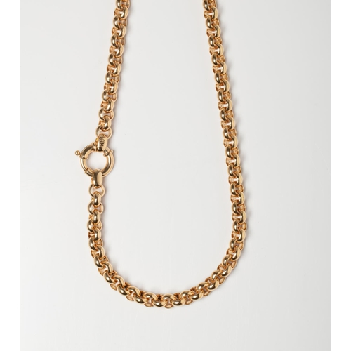 A 9CT GOLD BELCHER CHAIN A 45cm long Belcher chain with a Signoretti Clasp crafted in 9ct yellow gold weighing 24.5 grams.