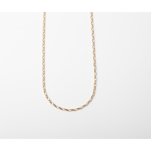 2 - A 9CT GOLD AND SILVER BONDED OVAL LINKED CHAIN A 50cm long Oval Link chain crafted in 1/10 9ct yello...