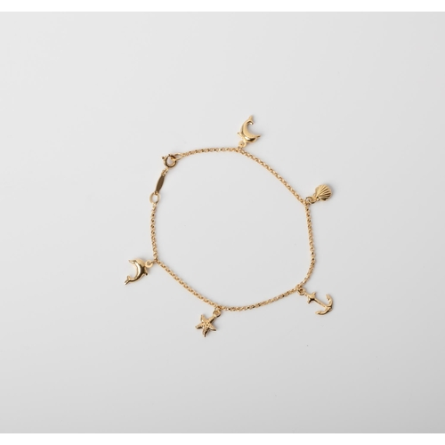 5 - A 9CT GOLD & SILVER BONDED CHARM  BRACELET A 19cm long charm bracelet crafted in 1/10 9ct yellow gol...