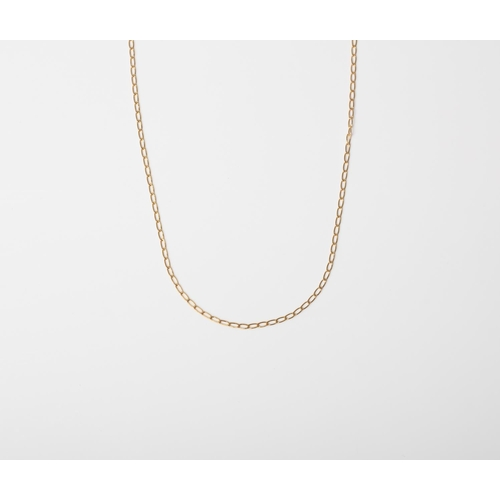 11 - A 9CT GOLD AND SILVER BONDED LONG LINK CURB CHAIN A 45cm long Long Curb chain crafted in 1/10 9ct ye...