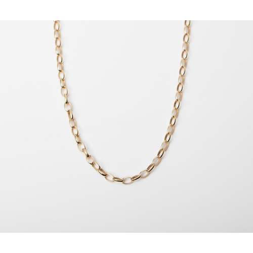 12 - A 9CT GOLD AND SILVER BONDED ROLO CHAIN A 50cm long Rolo chain crafted in 1/10 9ct yellow gold and S...