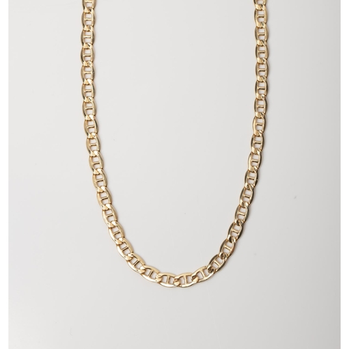 18 - A 9CT GOLD AND SILVER BONDED MARINER CHAIN A 55cm long Mariner chain crafted in 1/10 9ct yellow gold...