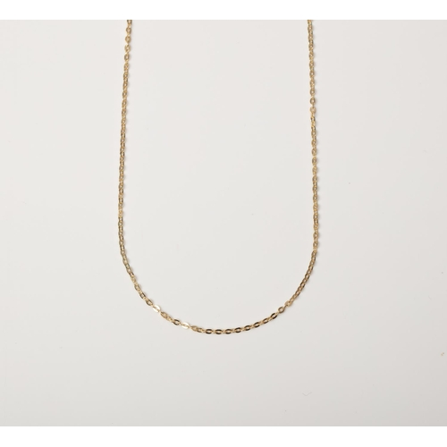 22 - A 9CT GOLD AND SILVER BONDED ROLO CHAIN A 45cm long Rolo chain crafted in 1/10 9ct yellow gold and S...