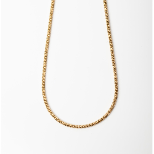 29 - A 9CT GOLD AND SILVER BONDED FANCY LINK CHAIN A 45cm long Fancy Link chain crafted in 1/10 9ct yello...
