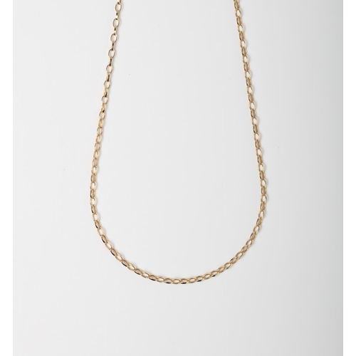 35 - A 9CT GOLD AND SILVER BONDED ROLO CHAIN A 45cm long Rolo chain crafted in 1/10 9ct yellow gold and S...